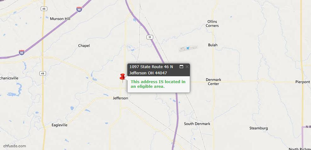 USDA Loan Eligiblity Map - 1097 State Route 46 N, Jefferson, OH 44047