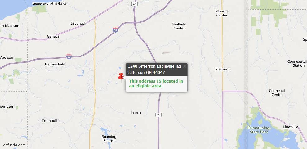 USDA Loan Eligiblity Map - 1240 Eagleville Rd, Jefferson, OH 44047