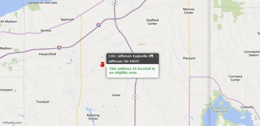 USDA Loan Eligiblity Map - 1301 Jefferson Eagleville Rd, Jefferson, OH 44047