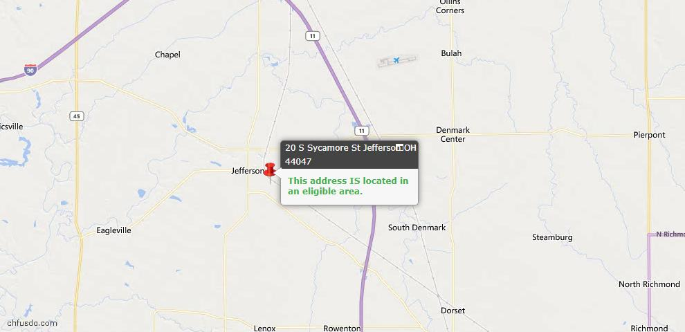 USDA Loan Eligiblity Map - 20 S Sycamore St, Jefferson, OH 44047