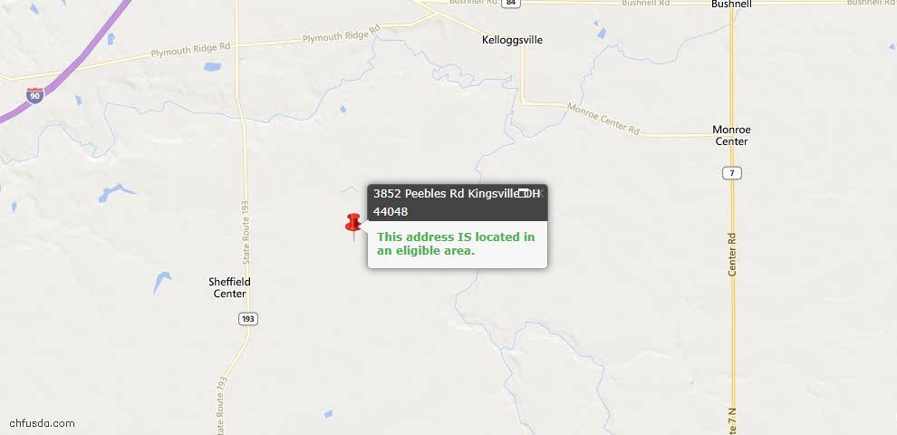 USDA Loan Eligiblity Map - 3852 Peebles Rd, Kingsville, OH 44048
