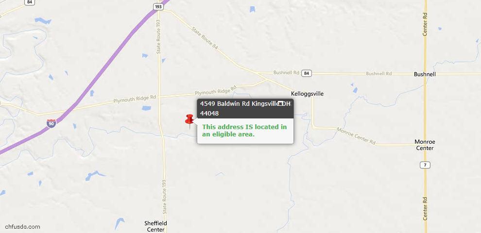 USDA Loan Eligiblity Map - 4549 Baldwin Rd, Kingsville, OH 44048