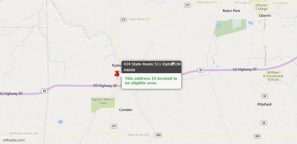USDA Loan Eligiblity Maps From - Kipton, OH