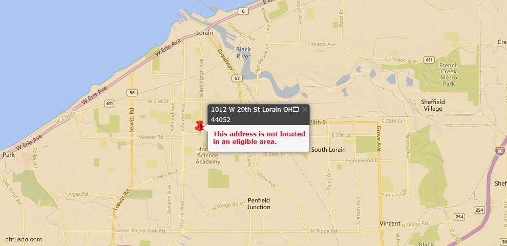 USDA Loan Eligiblity Map - 1012 West 29th St, Lorain, OH 44052