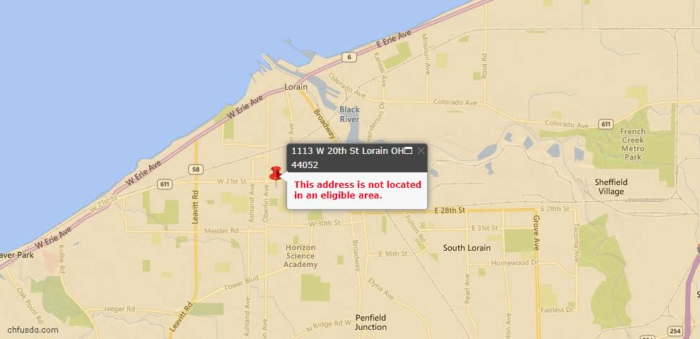 USDA Loan Eligiblity Map - 1113 W 20th St, Lorain, OH 44052
