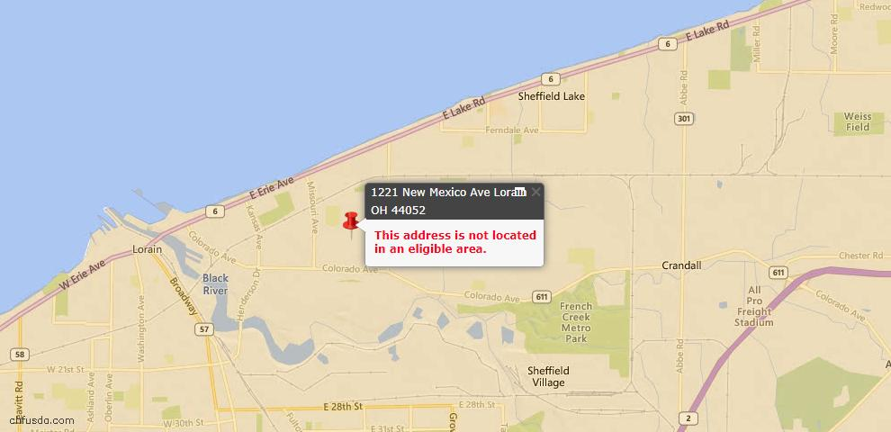 USDA Loan Eligiblity Map - 1221 New Mexico Ave, Lorain, OH 44052