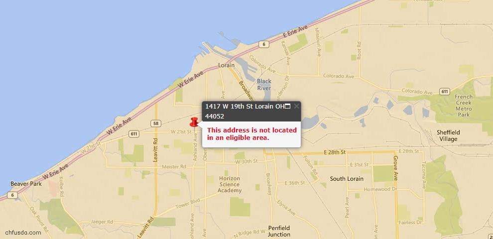 USDA Loan Eligiblity Map - 1417 W 19th St, Lorain, OH 44052