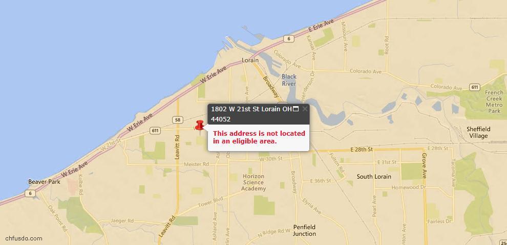 USDA Loan Eligiblity Map - 1802 W 21st St, Lorain, OH 44052