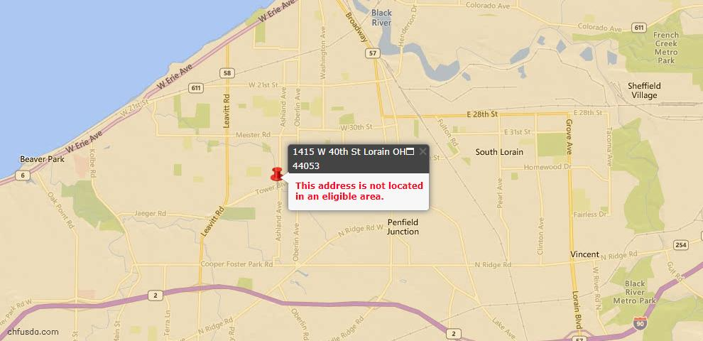USDA Loan Eligiblity Maps From - Lorain, OH