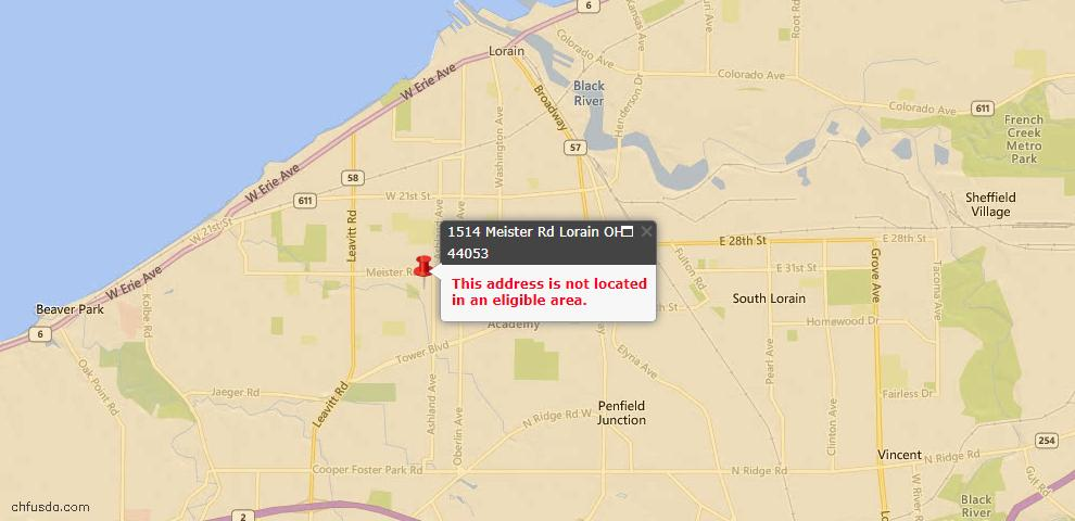 USDA Loan Eligiblity Map - 1514 Meister Rd, Lorain, OH 44053