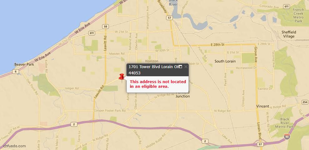 USDA Loan Eligiblity Map - 1701 Tower Blvd, Lorain, OH 44053