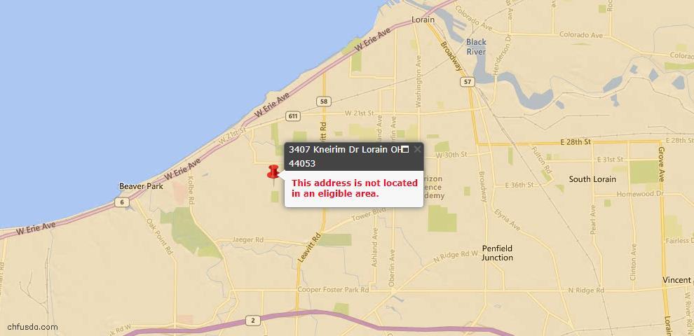 USDA Loan Eligiblity Map - 3407 Kneirim Dr, Lorain, OH 44053
