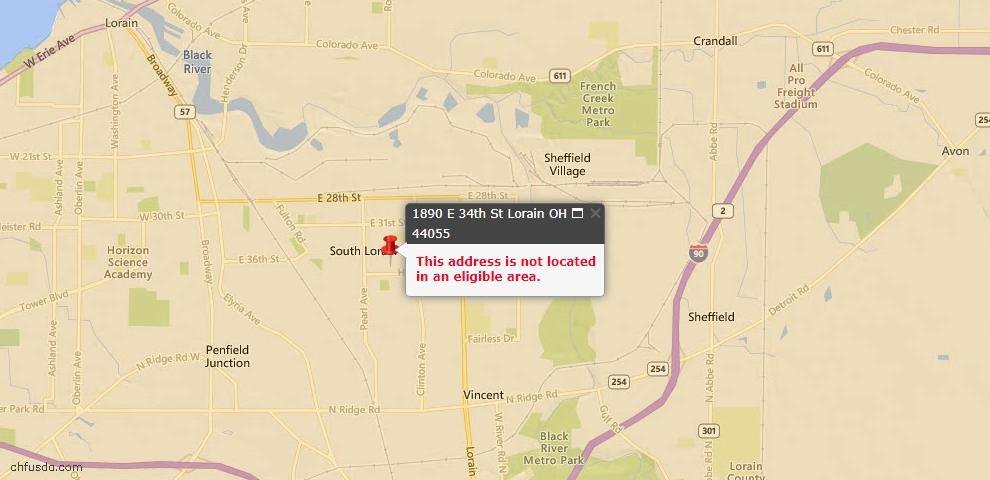 USDA Loan Eligiblity Map - 1890 E 34th St, Lorain, OH 44055