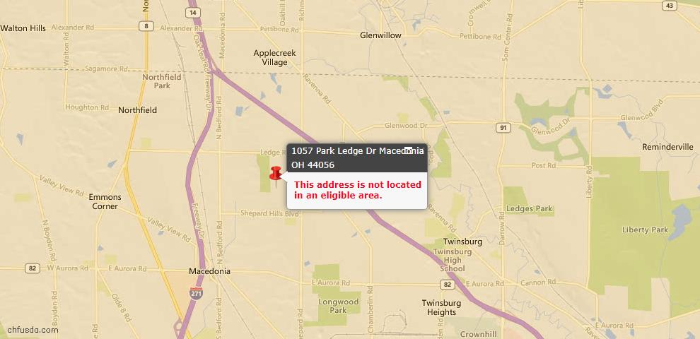 USDA Loan Eligiblity Maps From - Macedonia, OH