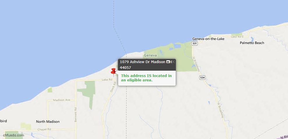 USDA Loan Eligiblity Map - 1079 Ashview Dr, Madison, OH 44057