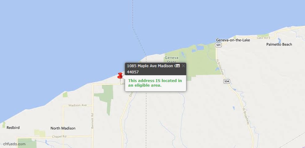 USDA Loan Eligiblity Map - 1085 Maple Ave, Madison, OH 44057