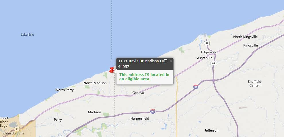 USDA Loan Eligiblity Map - 1139 Travis Dr, Madison, OH 44057