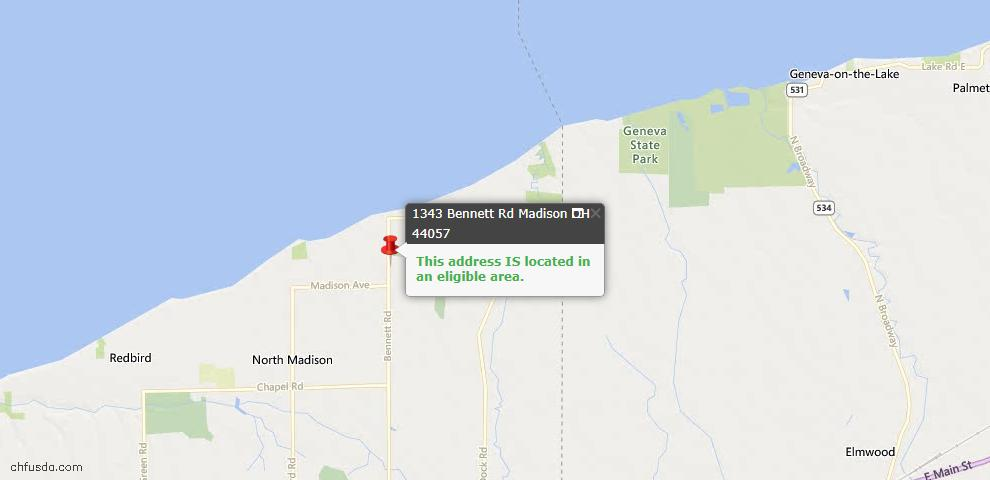 USDA Loan Eligiblity Map - 1343 Bennett Rd, Madison, OH 44057