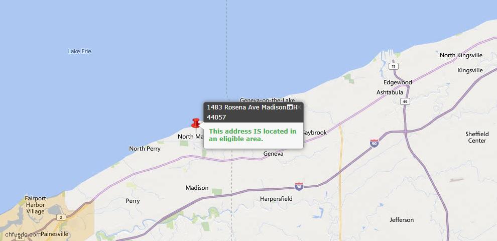 USDA Loan Eligiblity Map - 1483 Rosena Ave, Madison, OH 44057