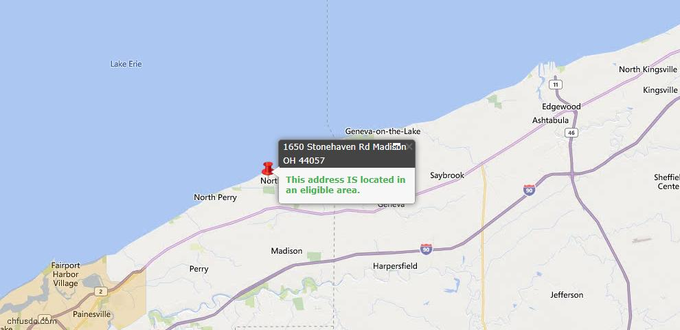 USDA Loan Eligiblity Map - 1650 Stonehaven, Madison, OH 44057