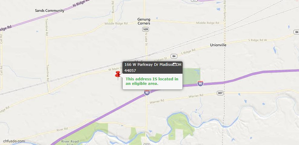 USDA Loan Eligiblity Map - 166 W Parkway Dr, Madison, OH 44057