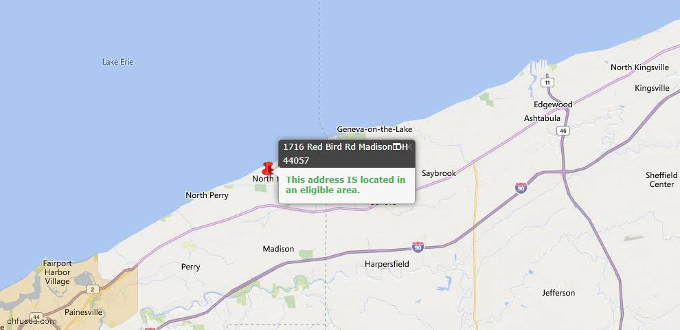 USDA Loan Eligiblity Map - 1716 Red Bird Rd, Madison, OH 44057