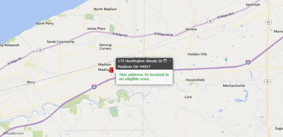 USDA Loan Eligiblity Map - 175 Huntington Woods Dr, Madison, OH 44057