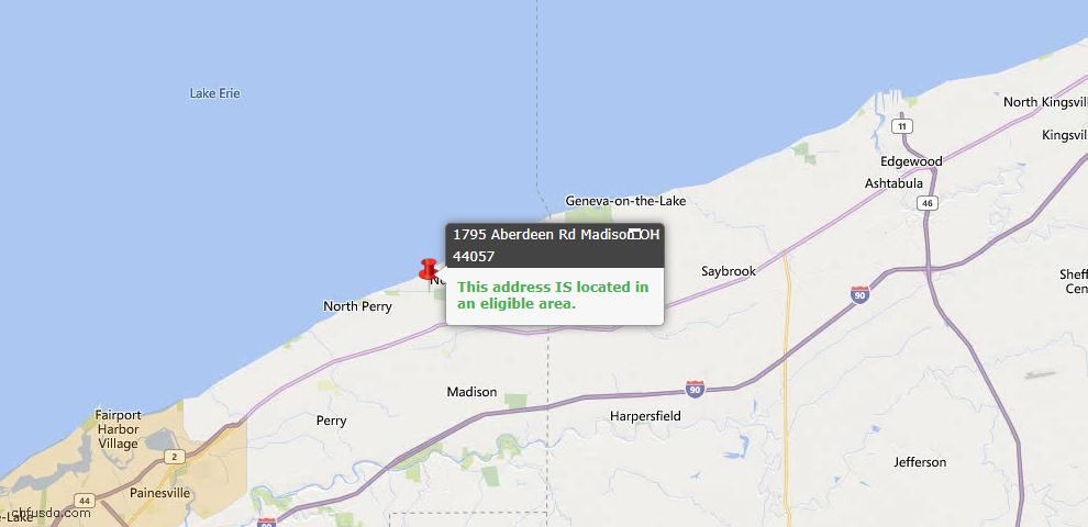 USDA Loan Eligiblity Map - 1795 Aberdeen Rd, Madison, OH 44057