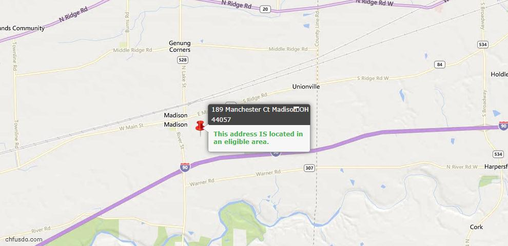 USDA Loan Eligiblity Map - 189 Manchester Ct, Madison, OH 44057