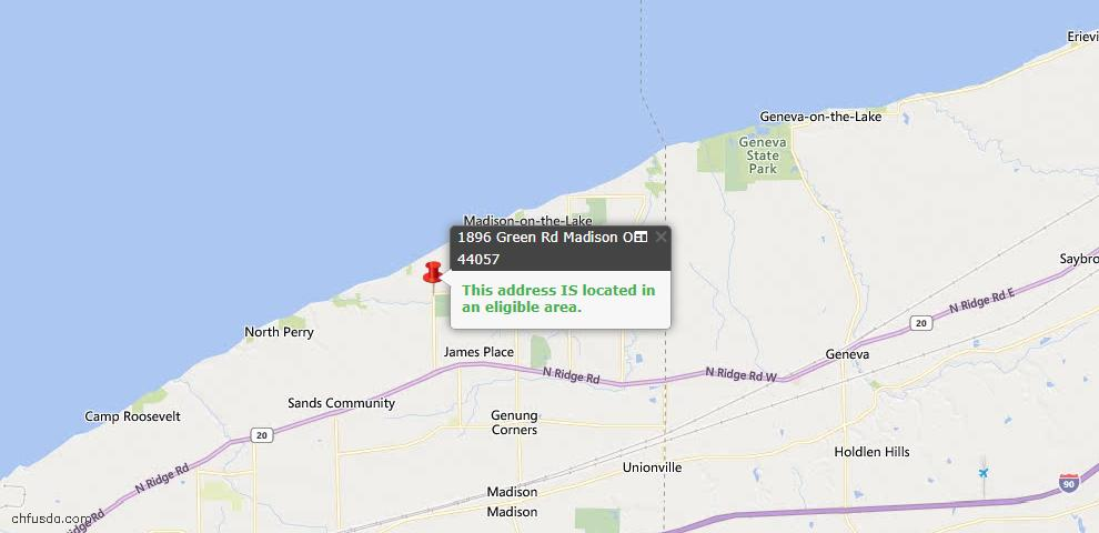 USDA Loan Eligiblity Map - 1896 Green Rd, Madison, OH 44057