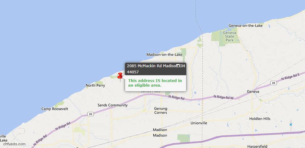 USDA Loan Eligiblity Map - 2085 Mcmackin Rd, Madison, OH 44057