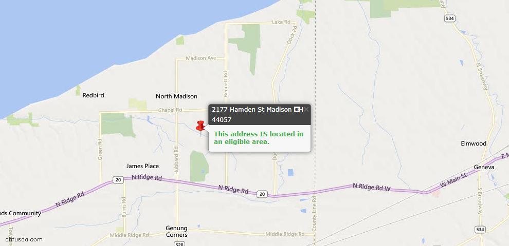USDA Loan Eligiblity Map - 2177 Hambden St, Madison, OH 44057