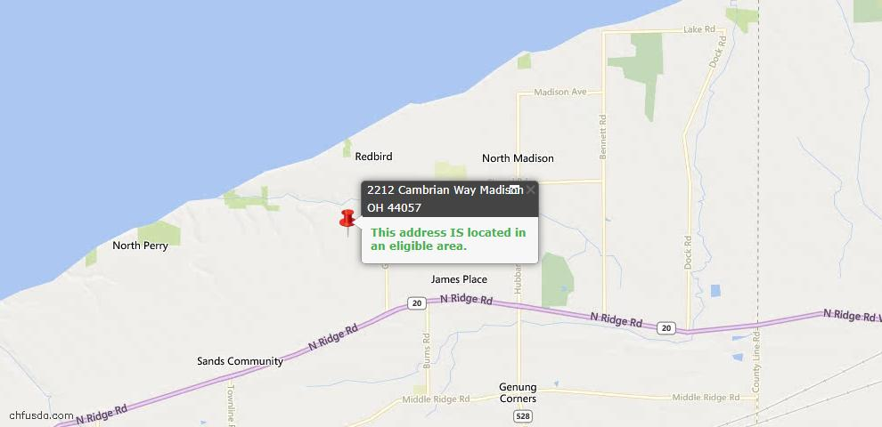 USDA Loan Eligiblity Map - 2212 Cambrian Way, Madison, OH 44057