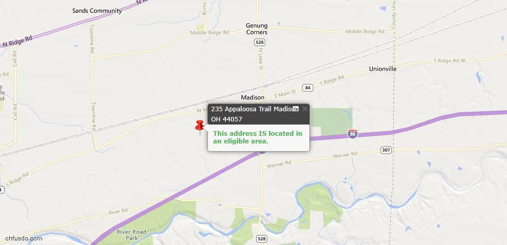 USDA Loan Eligiblity Map - 235 Appaloosa Trl, Madison, OH 44057