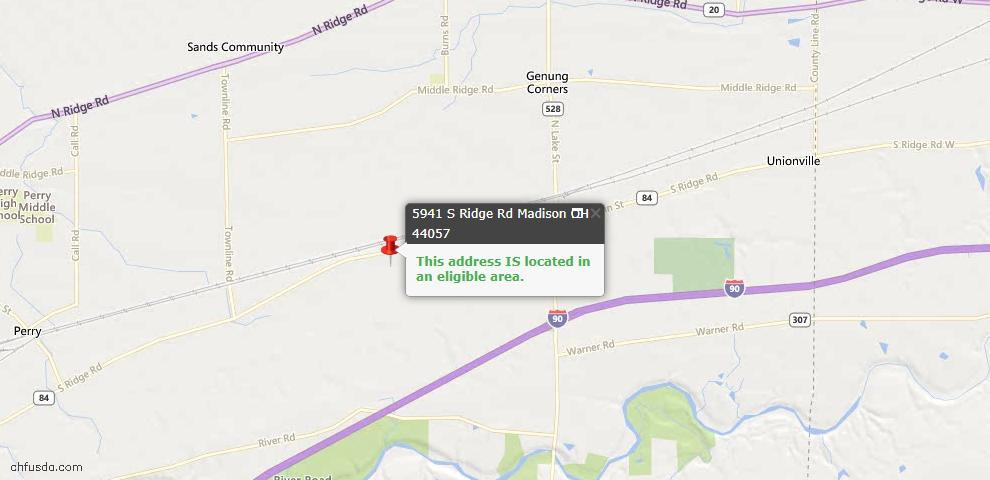 USDA Loan Eligiblity Maps From - Madison, OH