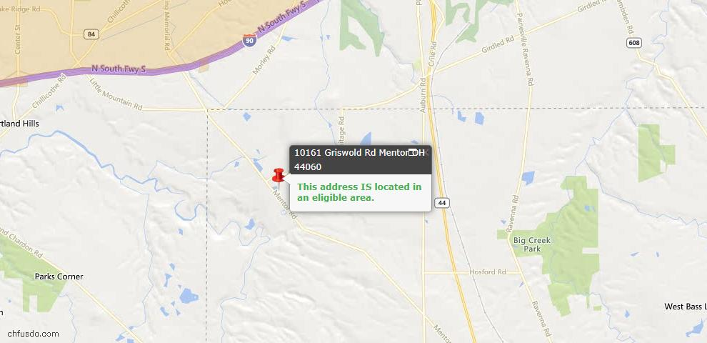 USDA Loan Eligiblity Map - 10161 Griswold Rd, Mentor, OH 44060