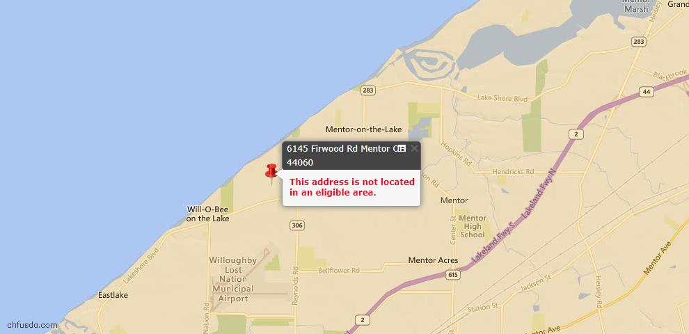 USDA Loan Eligiblity Maps From - Mentor, OH