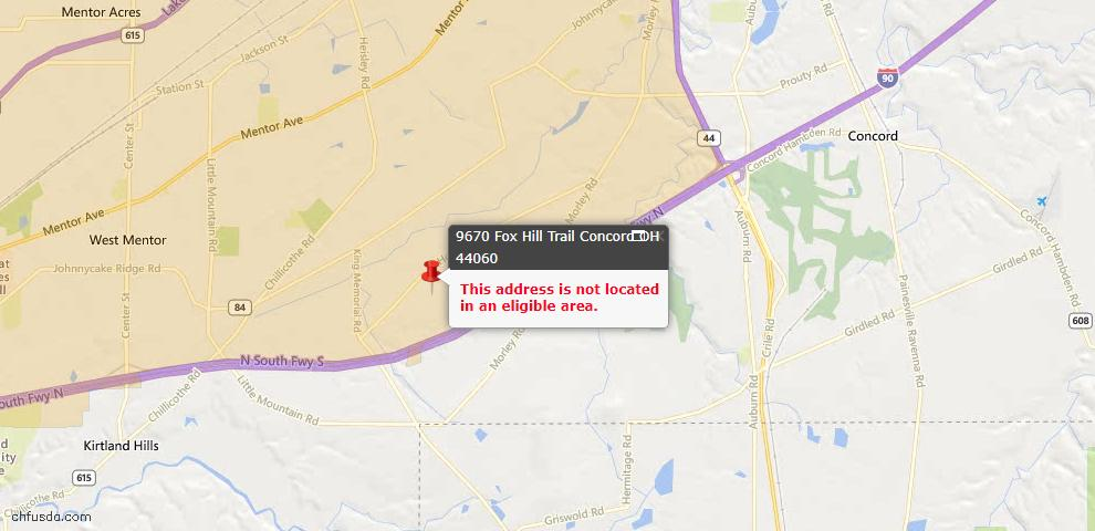 USDA Loan Eligiblity Maps From - Concord, OH