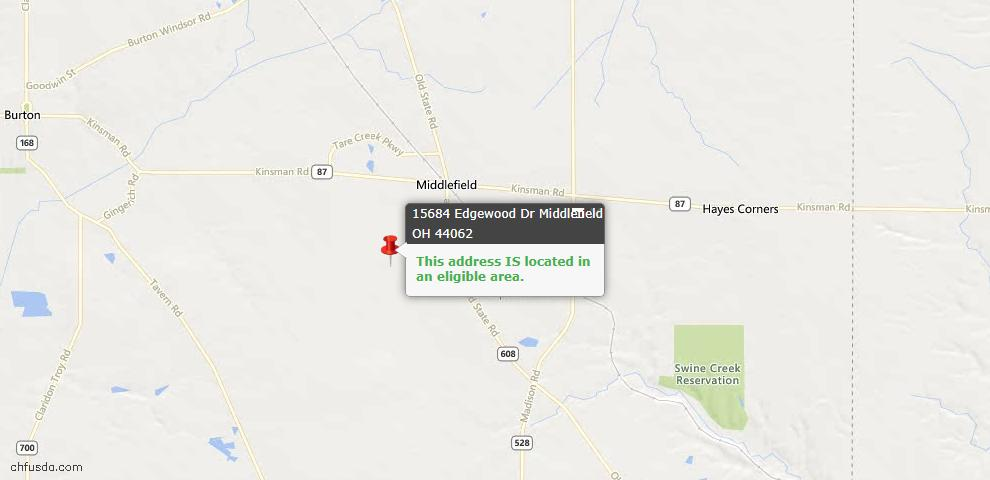USDA Loan Eligiblity Maps From - Middlefield, OH