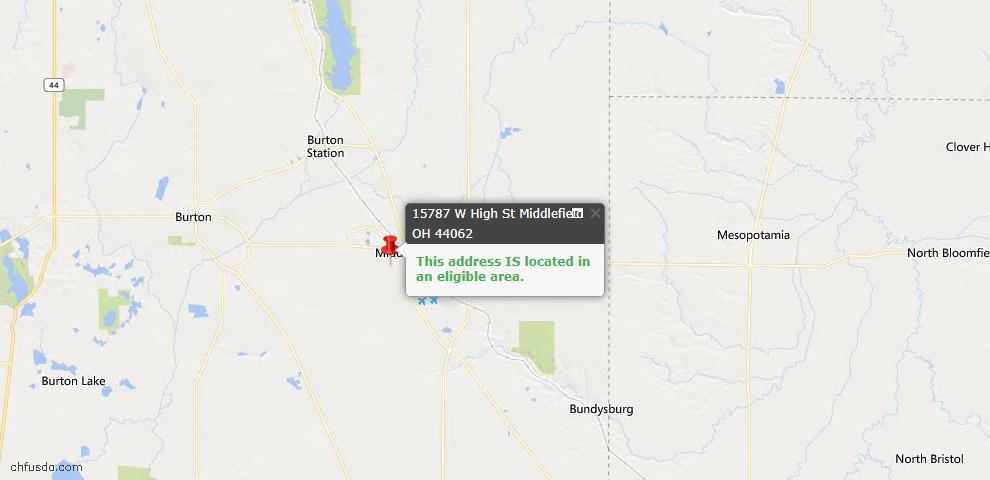 USDA Loan Eligiblity Map - 15787 W High St, Middlefield, OH 44062