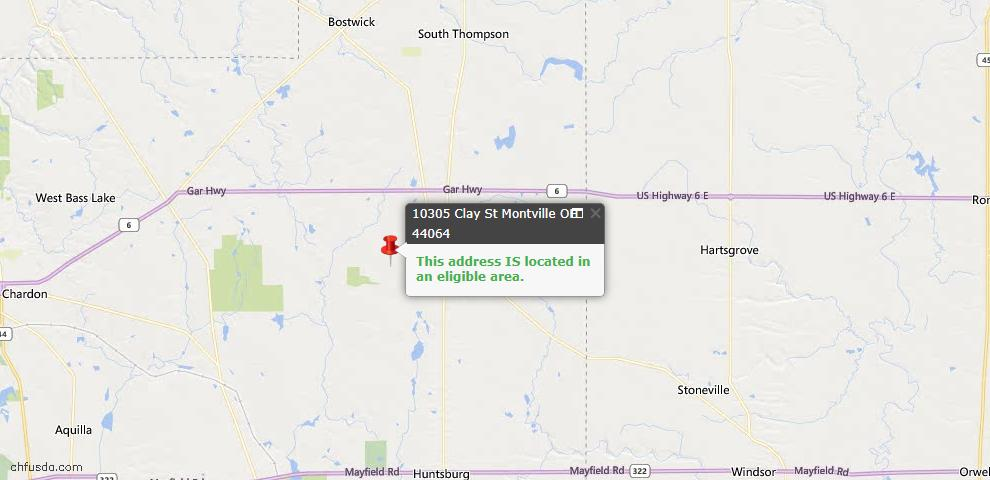 USDA Loan Eligiblity Map - 10305 Clay St, Montville, OH 44064