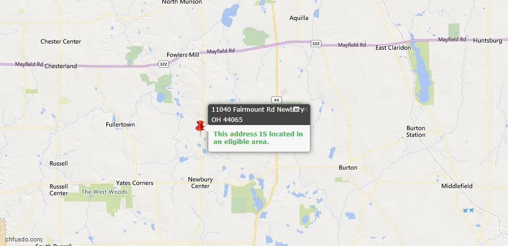 USDA Loan Eligiblity Map - 11040 Fairmount Rd, Newbury, OH 44065