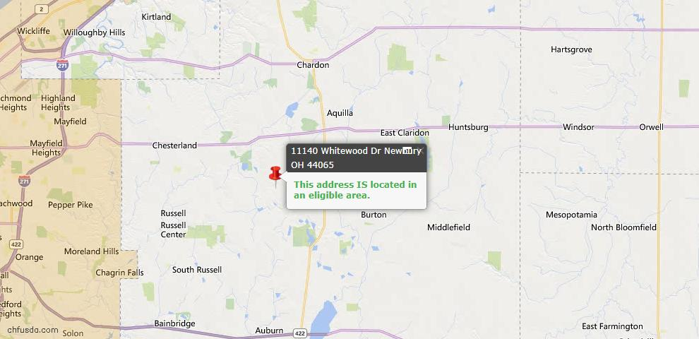 USDA Loan Eligiblity Map - 11140 Whitewood Dr, Newbury, OH 44065
