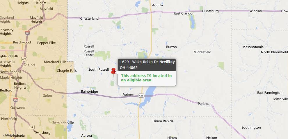 USDA Loan Eligiblity Map - 16291 Wake Robin Dr, Newbury, OH 44065