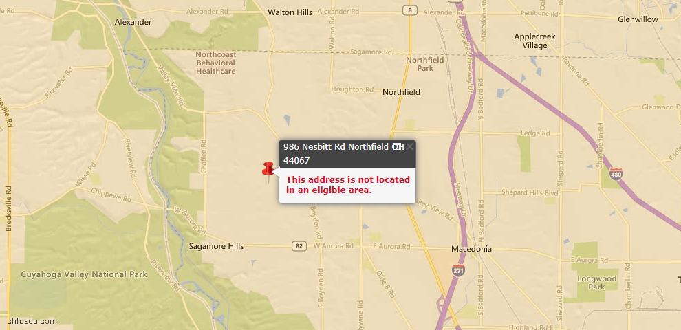 USDA Loan Eligiblity Maps From - Northfield, OH