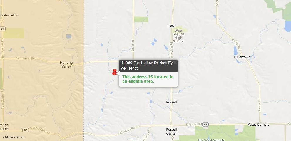 USDA Loan Eligiblity Map - 14060 Fox Hollow Dr, Novelty, OH 44072