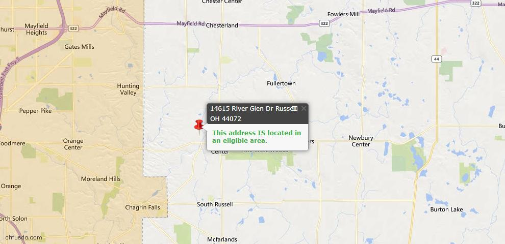 USDA Loan Eligiblity Map - 14615 River Glen Dr, Russell, OH 44072