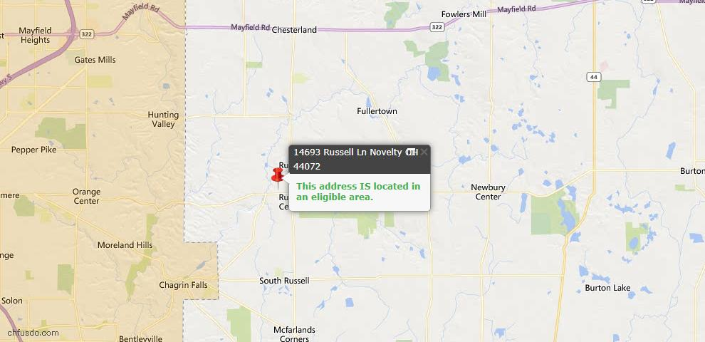 USDA Loan Eligiblity Map - 14693 Russell Ln, Novelty, OH 44072