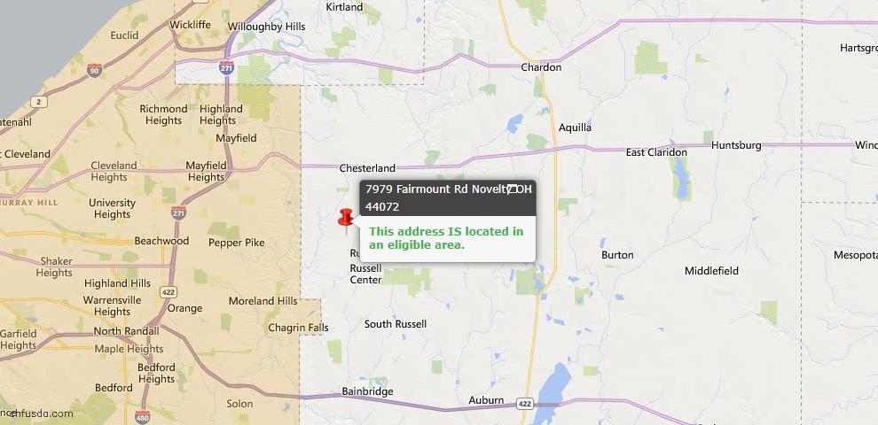 USDA Loan Eligiblity Map - 7979 Fairmount Rd, Novelty, OH 44072