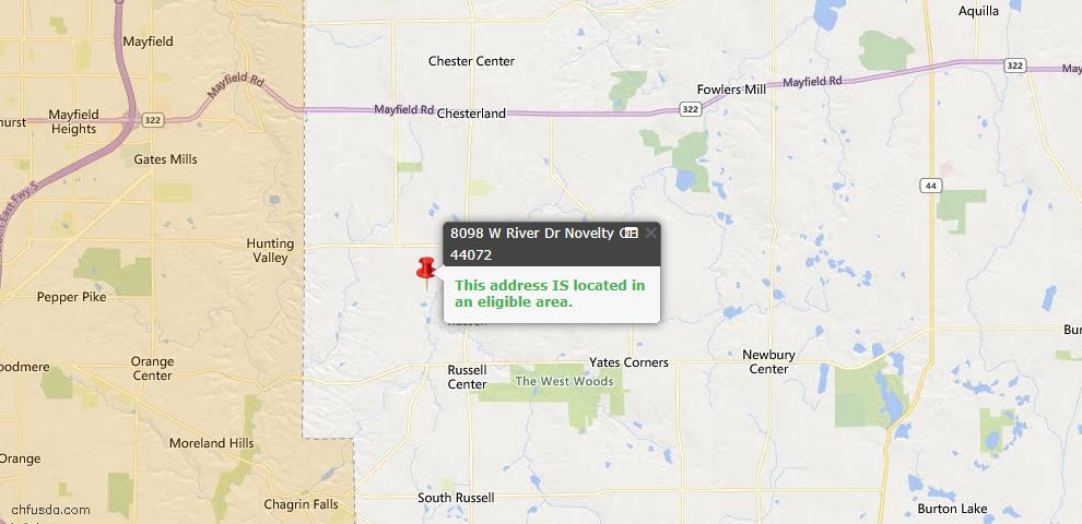 USDA Loan Eligiblity Map - 8098 W River Dr, Novelty, OH 44072